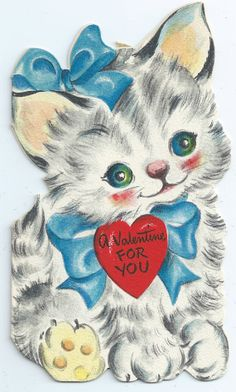 Cute Kitten Valentine Card Image Digital by SaltwaterTaffs on Etsy Valentine Greeting Cards, Vintage Valentine Cards, Vintage Greeting Cards, Victorian Valentines, Valentines Day Cat, My Funny Valentine, Decoupage, Gb Bilder, Old Cards