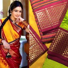 We are absolutely obsessed with how breathtaking #Sridevi looks in a traditional #9yard #kanjeevaram #saree. Worn by women of certain communities from #Andhrapradesh , #Telangana #Maharashtra , #Odisha , #Tamilnadu, #Bengal and #Karnataka the 9 yard #Angadi saree in pure zari is a must have in the #bridal #trousseau. 9 yard #Sareetrivia - the traditional 'aramadam' border is highly #desirable in a 9yard saree