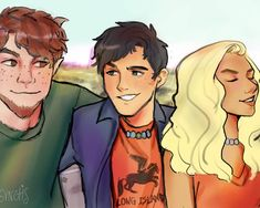 Reunited once again. Here's the Original Trio First time drawing Grover though. an amazing drawing! Percy Jackson Characters, Percy Jackson Fan Art, Percy Jackson Memes, Percy Jackson Books, Percy Jackson Fandom, Magnus Chase, Percabeth, Solangelo, Rick Riordan Series