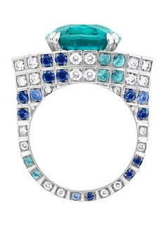 Ring from Louis Vuitton's Voyage dans le Temps Flashforward collection in white gold, set with a 8.83ct tourmaline and 2.11ct of diamonds and Paraiba tourmalines.