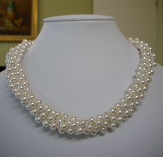 """Necklace Made with Swarovski Crystal Pearls - 17"""""""