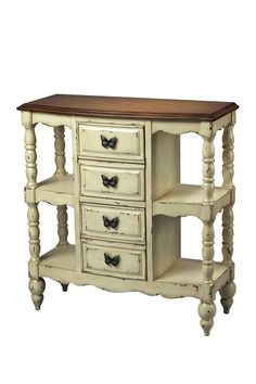 Whittler Console Table - solid wood, ivory, shabby white, butterfly drawer pulls ... French country cottage decor