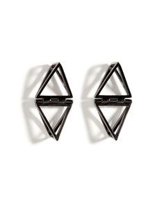 LYNN BAN Black Rhodium Silver Double Triangle Earrings