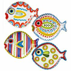 Fish-Fish Salad Plates Assorted Set of Four by VIETRI.  An update to the classic collection introduced in 1990. Fish-Fish is inspired by the famous Sicilian ceramic artist, Giovanni De Simone. Celebrated artist Alessandro Taddei uses bright, bold colors and the stories of nature to create this striking edition of the Fish-Fish Colection. The color pallette of Fish-Fish coordinates with many VIETRI collections. Handpainted in Tuscany, Italy on terra cotta.