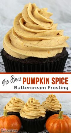 The Best Pumpkin Spice Buttercream Frosting The Best Pumpkin Spice Buttercream Frosting - Sweet, creamy, pumpkin-y, spicy and delicious. This pumpkin frosting is a great choice for any Fall cake or cupcake! Homemade Frosting, Homemade Butter, Homemade Cupcake Recipes, Fall Desserts, Dessert Recipes, Fall Snacks, Icing Recipes, Dessert Ideas, Fall Cakes