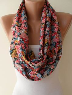 Infinty Loop Scarf - Colorful Flowered Fabric.