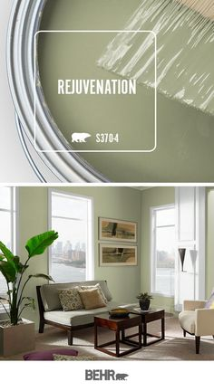 We're feeling refreshed and inspired thanks to the light green hue of Rejuvenation by Behr Paint. A beautiful addition to the walls of this living room, this hue adds a subtle pop of color to every room in your home. Click below for full color detail Behr Paint Colors, Bedroom Paint Colors, Paint Colors For Living Room, Paint Colors For Home, Sage Paint Colors, Green Shades Of Paint, Sage Green Paint, Green Wall Color, Family Room Colors