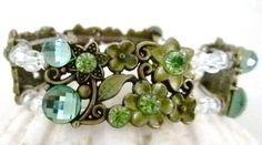 Crystal, Flowered, Stretch Bracelet Handmade in Pretty Green Tones