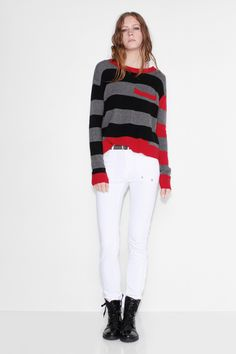 Zadig et Voltaire sweater, turtle neck, long sleeves, tricolor stripes all over the sweater, 100% cashmere. Model is 183cm/ 6'0