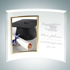 Jade Glass Academic Curved Vertical Gold Photo Frames. This Gold Vertical Curved Jade Glass Picture Frame features perfectly beveled edges and is made to outlast the hands of time. Display your Graduation picture proudly or your favorite family photo. It is an ideal gift for Graduations, Anniversaries and Birthdays. Choose a free artwork from our many choices or upload your own logo/artwork file. Engrave your graduating year, university name and your degree to make your memory an everlasting