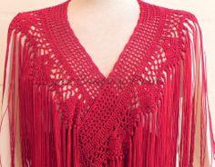 Mantoncillo traje de flamenca / Crochet shawl Crochet Shawls And Wraps, Boho Outfits, Macrame, Knit Crochet, Crochet Patterns, Embroidery, Knitting, Clothes, Ideas