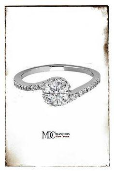 Diamond Swirl Engagement Ring in 14K White Gold 0.16 tcw.