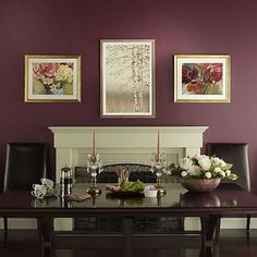 Deep reds are great for a traditional, formal dining room. Maroon Walls, Plum Walls, Dining Room Paint Colors, Dining Room Walls, Dining Area, Accent Wall Colors, Bedroom Red, Master Bedroom, Room Decor