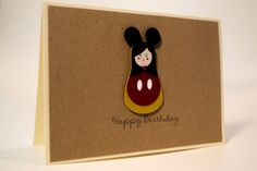 Items similar to Unique handmade Birthday card/ Russian Doll, Matryoshka dressed up as a Micky Mouse, / paper cut/ Kraft paper on Etsy Handmade Birthday Cards, Handmade Cards, Handmade Gifts, 3d Paper, Kraft Paper, Etsy Cards, Paper Cutting, Dolls, Unique Jewelry