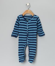 Take a look at this Blue & Navy Stripe Thermal Organic Footie by wiggle, giggle, coo on #zulily today!