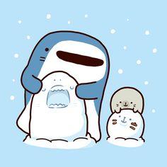 Cute Animal Drawings, Cartoon Drawings, Cute Drawings, Anime Animals, Cute Animals, Cute Shark, Kawaii Illustration, Kawaii Doodles, Stray Dogs Anime