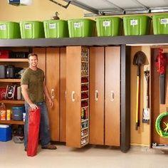 Space-saving sliding shelves for the garage. DIY-Projects/Home-Organization/Garage-Storage/garage-storage-space-saving-sliding-shelves Workshop Organization, Garage Organization, Organization Ideas, Organized Garage, Workshop Ideas, Workshop Storage, Workshop Layout, Workshop Plans, Organizing Tips