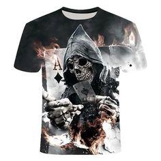 Skull Reaper Card T-Shirt | Skullflow 3d T Shirts, Casual T Shirts, Cool T Shirts, Skull Shirts, Skull 3d, Latest T Shirt, Vintage Shirts, Shirt Sleeves, Blouse