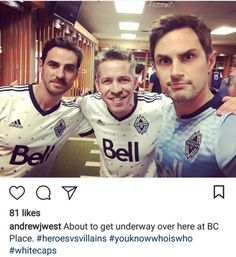 Colin O'Donoghue, Sean Maguire, and Andrew West at the Vancouver Whitecaps' Legends and Stars Charity football game, September 16th, 2017