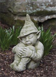 Campania International Galen The Elf Cast Stone Garden Statue Ferro Rustico  Nuovo