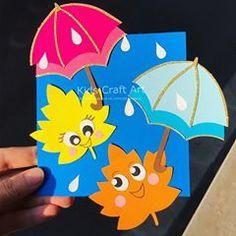 herbst fensterdeko kinder paper fall autumn craft for kids umbrella lavoretti Autumn Crafts, Halloween Crafts For Kids, Paper Crafts For Kids, Spring Crafts, Preschool Crafts, Fun Crafts, Wood Crafts, Fall Leaf Template, Hedgehog Craft