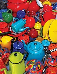 Kettles - Colorful red, blue, green, and yellow enamel, vintage...  greathallgames.com