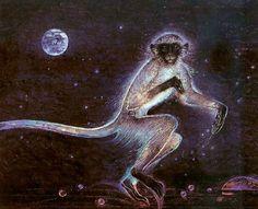 """Hanuman"" by Susan Seddon Boulet, 1986 Beautiful Moon, Life Is Beautiful, Beautiful Images, Animal Espiritual, Spiritual Animal, Animal Spirit Guides, Monkey Art, Spirited Art, Dragon Pictures"