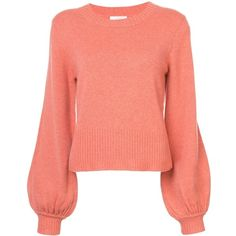 Chloe Orange Cashmere Sweater ($1,095) ❤ liked on Polyvore featuring tops, sweaters, orange, crewneck sweaters, red crop tops, j.crew cashmere sweaters, crew-neck sweaters and red crew neck sweater
