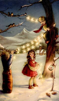 Vintage Christmas greeting...awwww I totally love the faces on old cards too sweet ; )