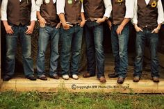 country wedding groomsmen attire - I absolutely love this look! Only my guys are gonna be wearing camo vests. Groom in white and the Groomsmen in Hunter orange shirts. Country Wedding Boots, Country Wedding Groomsmen, Groom And Groomsmen, Groomsman Attire, Groom Attire, Wedding Suits, Country Groomsmen Attire, Rustic Wedding Attire, Dream Wedding