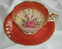 Aynsley England Salmon, Gold and Rose Tea Cup and Saucer from janshelley on Ruby Lane