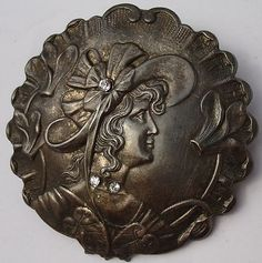 """Very RARE Stunning """"Victorian Lady""""w Rhinestones Antique Pewter Picture Button"""