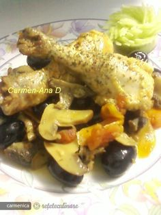 Chicken legs with olives and mushrooms