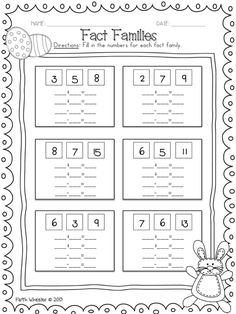 Worksheets Activitiesaddition And Subtraction Fact Families Gs Year 1 Maths Worksheets, Subtraction Worksheets, Printable Worksheets, Addition Worksheets, Fact Family Worksheet, First Grade Math, Grade 1, Addition Facts, Fact Families