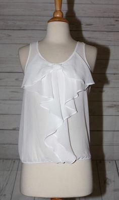 Six Degrees Sz XS Sheer White Chiffon Bow Tie Chic Bubble Blouse Shirt Top  #SixDegrees #Blouse #Casual