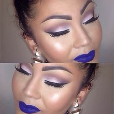 Love the eye shadow,  but would change the lipstick to a dark red