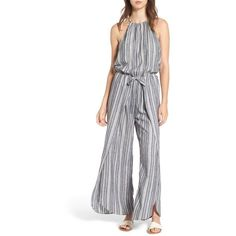 Women's Mimi Chica Halter Neck Jumpsuit ($55) ❤ liked on Polyvore featuring jumpsuits, striped jumpsuit, retro jumpsuit, striped halter top, wide leg jumpsuits and halterneck jumpsuit