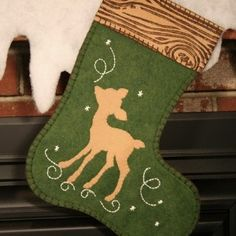 Woodland Deer Christmas Stocking. I love the blanket stitching around the entire edge!