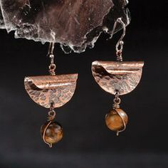 Folded Copper Earrings With Tiger Iron