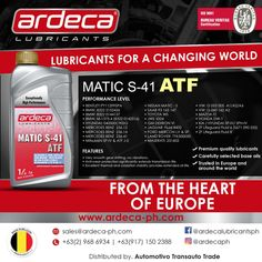 We know your transmission is just as important as your engine, so why not go all the way and try our Fully Synthetic Ardeca Matic Automatic Transmission Fluid! Suitable for 6 or 8 speed automatic transmissions from ZF and other manufacturers!