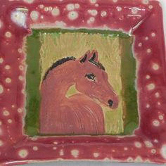 Your place to buy and sell all things handmade Linoleum Block Printing, Hanging Beads, Square Plates, Horse Head, Wall Tiles, House Warming, Burgundy, Tray, Porcelain