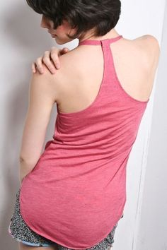 Pink Asymmetrical Halter Top -  Cotton Basic Shirt Tank Small Medium Large. $24.00, via Etsy.