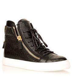 Black embossed leather high-top sneaker Giuseppe Zanotti - Designer Shoes at ShopSavannahs.com