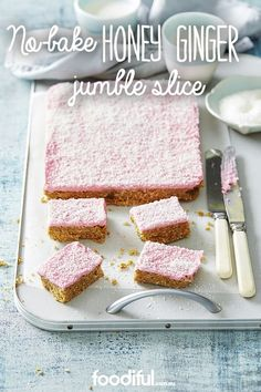 If you love ginger, this is the slice for you! With a sweet coconut, pink-coloured icing, and buttery ginger-infused base, this slice is great for cake stalls. Honey Recipes, Milk Recipes, Sweet Recipes, Cake Recipes, Dessert Recipes, Cooking Recipes, Yummy Recipes, No Bake Slices, Cake Slices