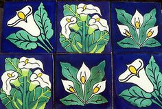 """6 Mexican Talavera Pottery 4"""" Tile Hand Painted Hand Made Calla Lily Italy CD 