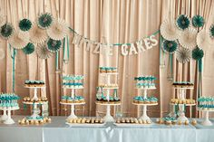 love this blue and ivory dessert bar