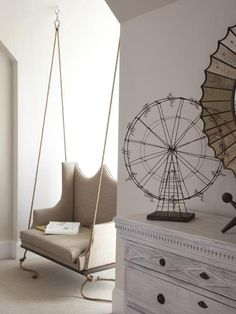 Interesting suspended chair with his hands with white wall wallpaper plus wooden dressing table thwn white floor decor idea Exciting DIY Suspended Chair Ideas suspended chair indoor. indoor hanging chair. garden suspended chair.