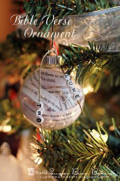 Learn how to make this Bible Verse Ornament. Other ideas: Lines from a favor. Learn how to make this Bible Verse Ornament. Other ideas: Lines from a favorite book (hello, Ha Clear Ornaments, Diy Christmas Ornaments, Holiday Crafts, Christmas Bulbs, Christmas Decorations, Felt Ornaments, Christian Christmas, Christmas Love, Winter Christmas