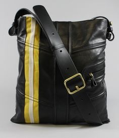BID ON Johnny Weir's BALLY Black Yellow Leather Pocket Detail Crossbody Handbag at www.ShopLindasStuff.com