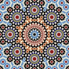 Sacrilegious to call this decor in a way. Each individual tile is cut by hand. I am awe inspired each time I regard a Moroccan mosaic.